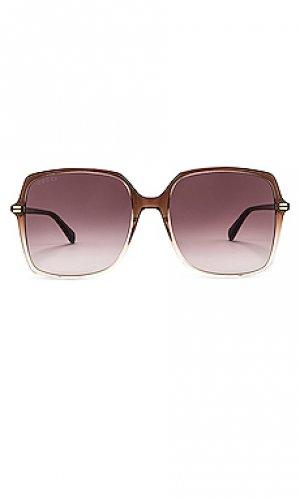 Солнцезащитные очки square Gucci. Цвет: коричневый