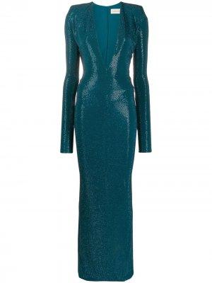 Длинное платье со стразами Alexandre Vauthier. Цвет: синий