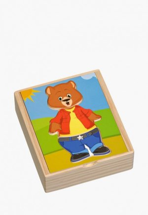 Пазл Игрушки из дерева Медвежонок Миша. Цвет: разноцветный