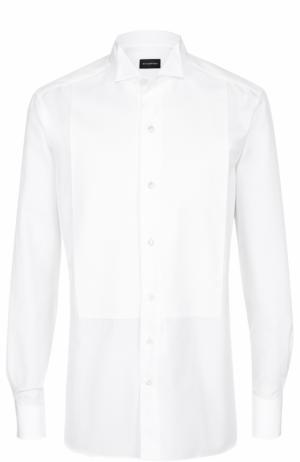 Хлопковая сорочка под смокинг с воротником бабочка Ermenegildo Zegna. Цвет: белый