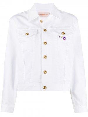 Джинсовая куртка с вышивкой Tory Burch. Цвет: белый