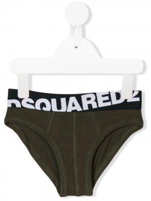 Трусы с логотипом Dsquared2 Kids. Цвет: зеленый