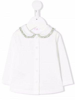 Ruffle-collar cotton cardigan Il Gufo. Цвет: белый