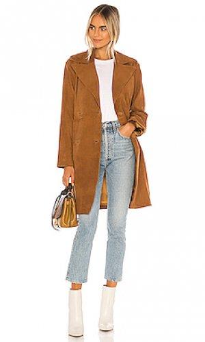 Кожаное пальто с поясом song of Style. Цвет: cognac,tan