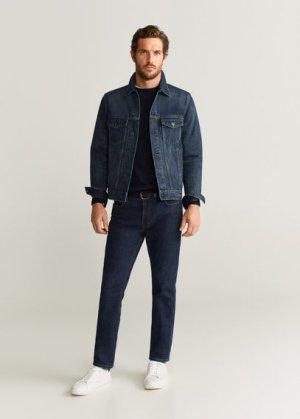 Джинсовая куртка с легким эффектом застиранности - Ryan6 Mango. Цвет: синий