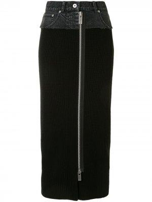 Джинсовая юбка Sacai. Цвет: черный