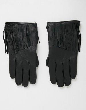 Черные кожаные перчатки с кисточками -Черный цвет ASOS DESIGN