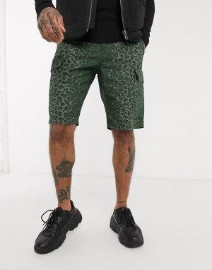 Камуфляжные шорты карго с леопардовым принтом -Мульти Element
