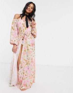 Пляжное кимоно с открытыми плечами и цветочным принтом -Многоцветный ASOS DESIGN