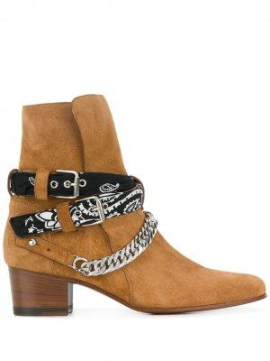 Ботинки с банданой и пряжкой AMIRI. Цвет: коричневый