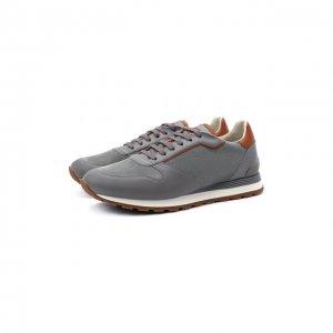 Комбинированные кроссовки Brunello Cucinelli. Цвет: серый