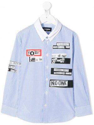 Рубашка с газетным принтом Dsquared2 Kids. Цвет: белый