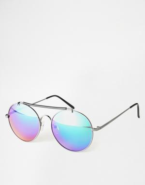 Bahamas Round Sunglasses Selected Homme. Цвет: серебряный