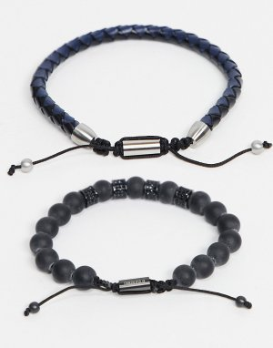 Набор из браслетов с бусинами и кожаной отделкой -Черный цвет Ben Sherman