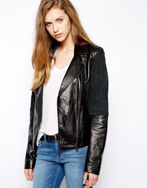 Кожаная куртка Jeans Calvin Klein. Цвет: jet black