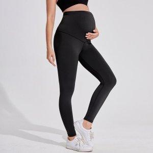 Леггинсы с широким поясом для беременных SHEIN. Цвет: чёрный