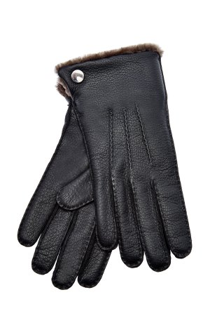Перчатки ручной работы из кожи оленя с манжетами овчины MORESCHI. Цвет: черный