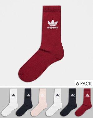 Набор из 6 пар розовых носков с логотипом-трилистником -Розовый adidas Originals