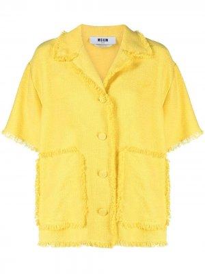 Джинсовая куртка с бахромой MSGM. Цвет: желтый