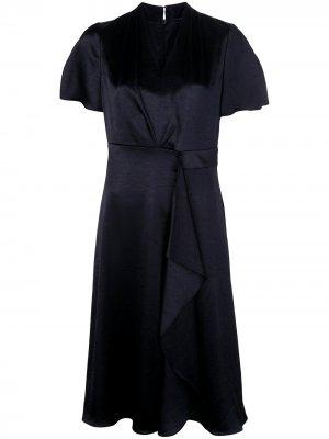Расклешенное платье миди с оборками Elie Tahari. Цвет: черный