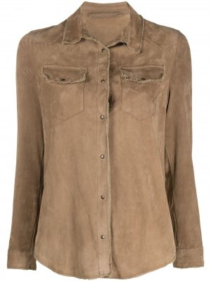 Куртка-рубашка с бахромой Salvatore Santoro. Цвет: коричневый