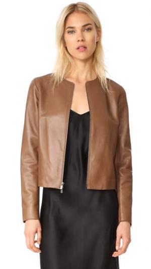 Кожаная куртка с молнией спереди Vince. Цвет: коричневый