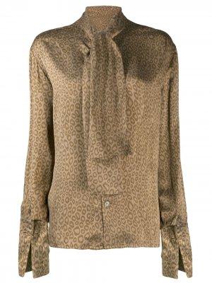 Блузка с леопардовым принтом Céline Pre-Owned. Цвет: коричневый