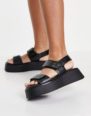 Черные кожаные сандалии на платформе с двойными ремешками под крокодиловую кожу Courtney-Черный цвет Vagabond