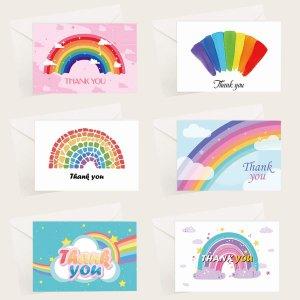 6 наборов Поздравительная открытка с принтом радуги SHEIN. Цвет: многоцветный