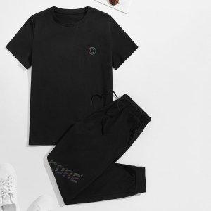 Мужской буква Футболка & на кулиске Спортивные брюки SHEIN. Цвет: чёрный