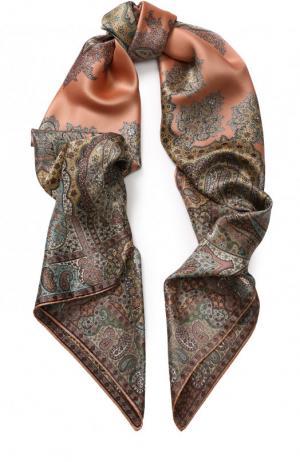 Шелковый платок с принтом Michele Binda. Цвет: коричневый
