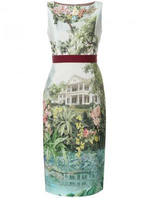 Приталенное платье миди с цветочным принтом Antonio Marras. Цвет: разноцветный