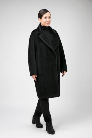 Классическое пальто из альпака на большой размер Leoni Bourget. Цвет: черный