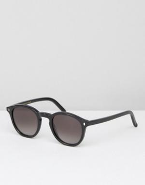 Черные круглые солнцезащитные очки Monokel Eyewear. Цвет: черный