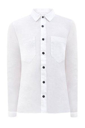 Белая льняная рубашка в стиле casual с контрастной фурнитурой STONE ISLAND. Цвет: белый