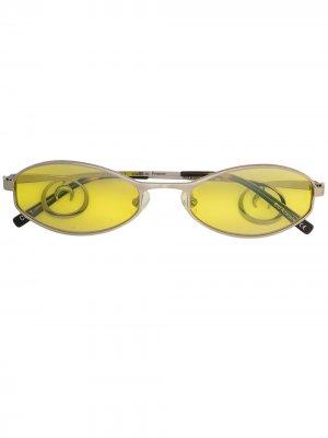 Солнцезащитные очки в овальной оправе Marine Serre. Цвет: зеленый