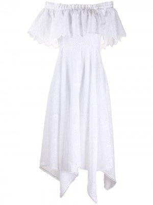 Платье с открытыми плечами и резным узором Charo Ruiz Ibiza. Цвет: белый