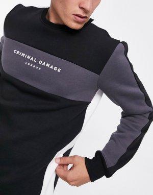 Свитшот в стиле колор блок черном и сером цветах -Черный Criminal Damage