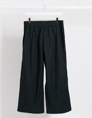 Черные широкие брюки из органического хлопка -Черный Monki
