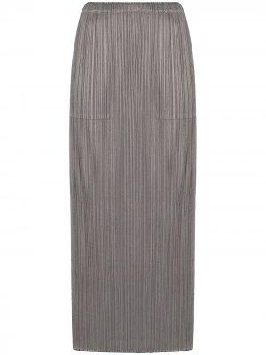 Плиссированная юбка миди Pleats Please Issey Miyake. Цвет: серый