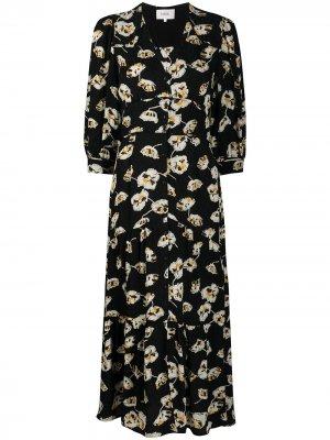 Жаккардовое платье Ullia с цветочным узором Ba&Sh. Цвет: черный