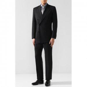 Шерстяной костюм с двубортным пиджаком Brioni. Цвет: чёрный