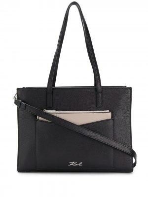 Большая сумка-тоут K/Pocket Karl Lagerfeld. Цвет: черный
