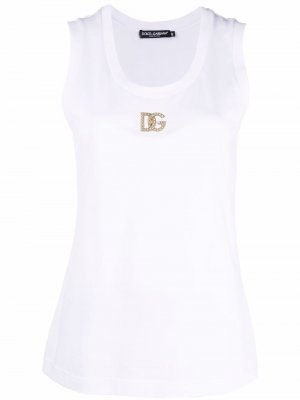 Crystal-logo tank top Dolce & Gabbana. Цвет: белый