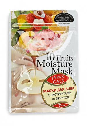 Набор масок для лица Japan Gals Маска с экстрактами 10 фруктов Pure5 Essential 7 шт. Цвет: белый