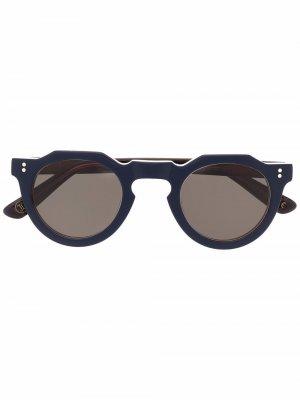 Солнцезащитные очки в круглой оправе Lesca. Цвет: синий
