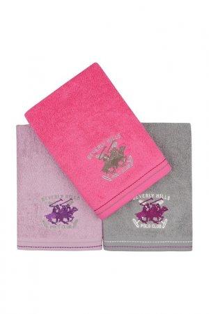 Hand Towel Set, 3 Pieces Beverly Hills Polo Club. Цвет: fuchsia, lilac, grey
