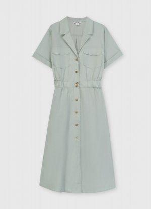 Платье-рубашка из хлопка O`Stin. Цвет: светло-ментоловый