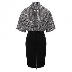Шелковое платье Givenchy. Цвет: чёрно-белый