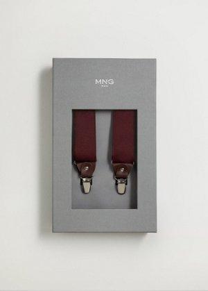 Эластичные подтяжки с кожаными деталями - Suspende Mango. Цвет: бургундия